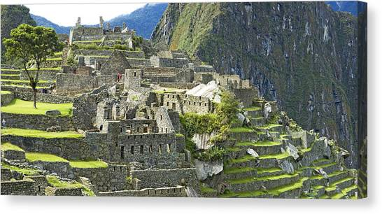 Andes Mountains Canvas Print - Buildings On A Hill, Andes by Panoramic Images