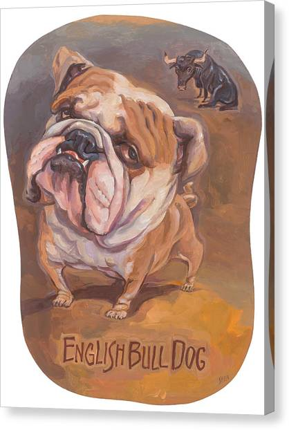 English Bull Dog Canvas Print - Bull Dog Eyes The Prize by Shawn Shea