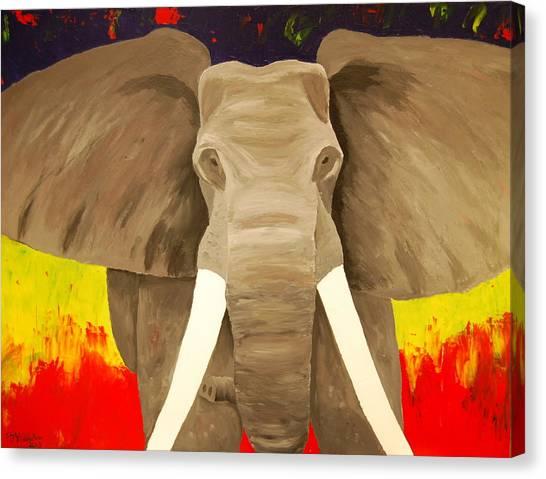 Bull Elephant Prime Colors Canvas Print