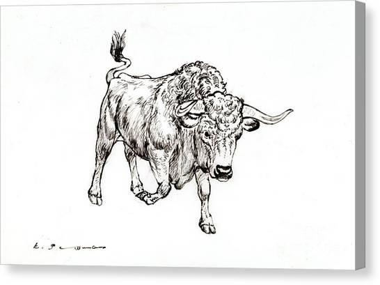 Bull Canvas Print by Kurt Tessmann