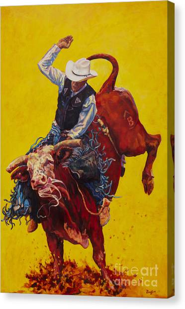 Bull Riding Canvas Print - Bull Market by Patricia A Griffin