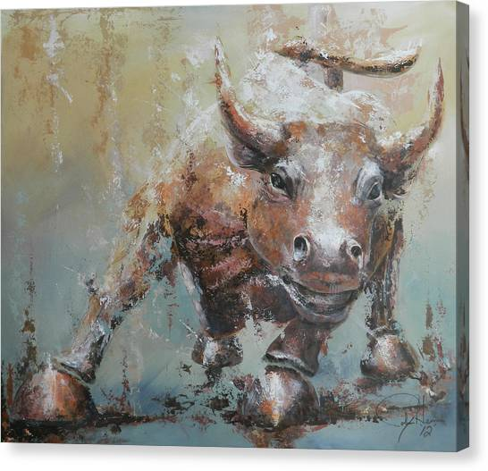 Money Canvas Print - Bull Market Y by John Henne