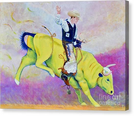 Bull Riding Canvas Print - Bull Rider Wren by Christine Belt
