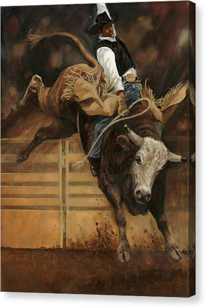 Bull Riding Canvas Print - Bull Riding 1 by Don  Langeneckert