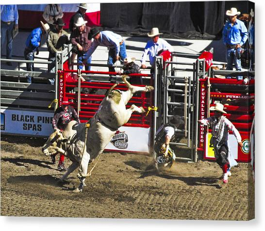 Rodeo Clown Canvas Print - Bull Riding by Ron Roberts