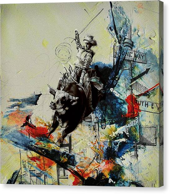 University Of Chicago Canvas Print - Bull Rodeo 02 by Corporate Art Task Force