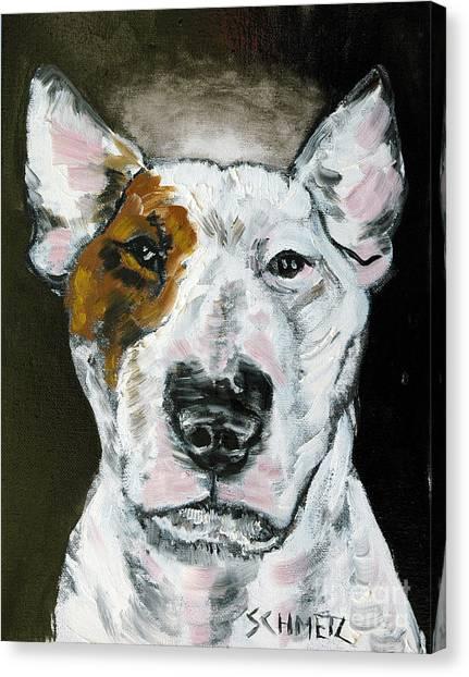 Bull Terrier Angel Canvas Print by Jay  Schmetz