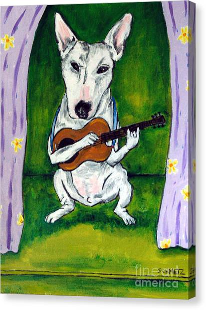 Bull Terrier Playing Guitar Canvas Print by Jay  Schmetz