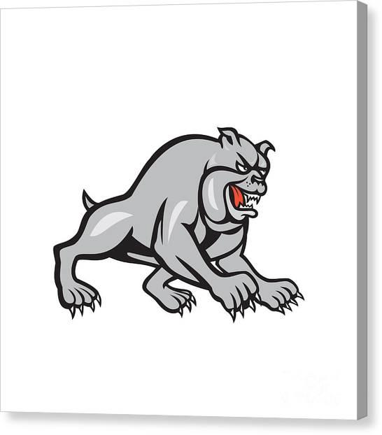 Bulldog Dog Mongrel Prowling Cartoon Canvas Print by Aloysius Patrimonio