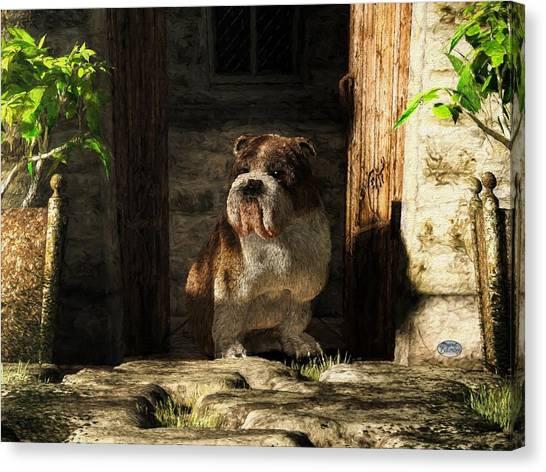 University Of Georgia Canvas Print - Bulldog In A Doorway by Daniel Eskridge