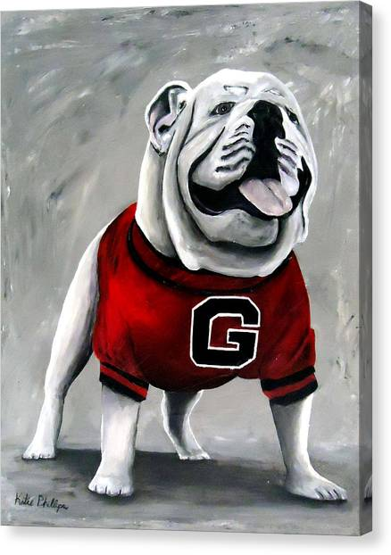 Sec Canvas Print - Uga Bulldog College Mascot Dawg by Katie Phillips