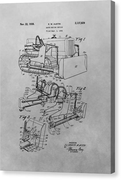 Bulldozers Canvas Print - Bulldozer Patent Drawing by Dan Sproul