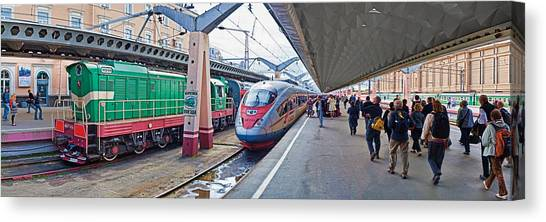 Bullet Trains Canvas Print - Bullet Train At A Railroad Station, St by Panoramic Images