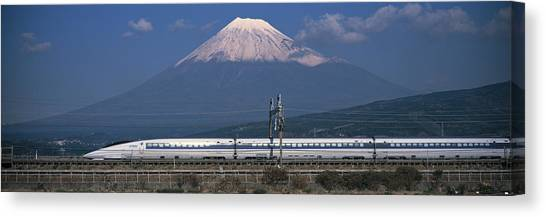 Bullet Trains Canvas Print - Bullet Train Mount Fuji Japan by Panoramic Images