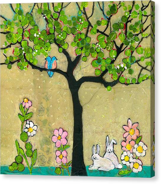 Spring Trees Canvas Print - Bunnies And Birds Tree by Blenda Studio