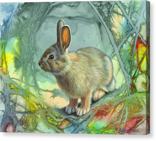 Rabbits Canvas Print - Bunny In Abstract by Paul Krapf