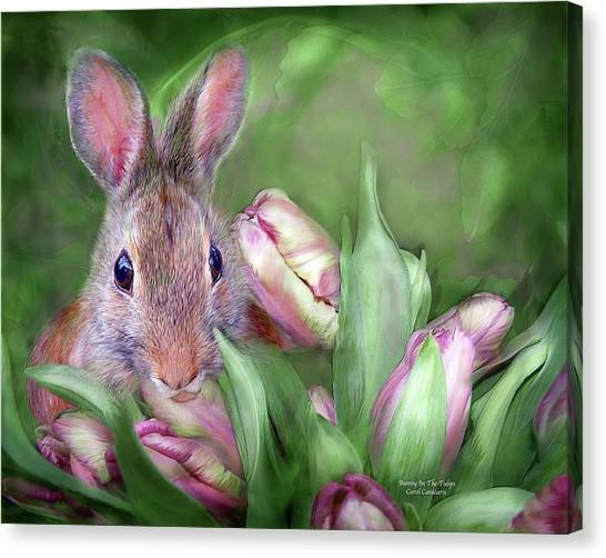 Easter Bunny Canvas Print - Bunny In The Tulips by Carol Cavalaris