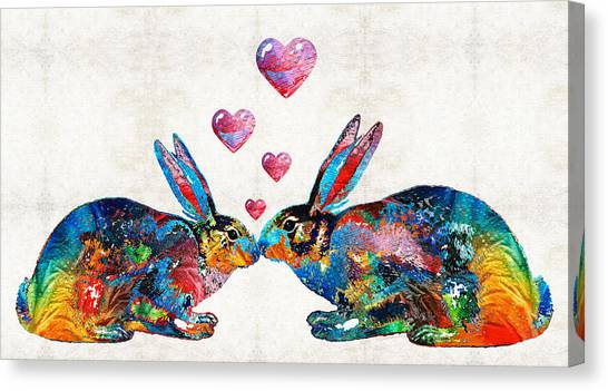 Animals Canvas Print - Bunny Rabbit Art - Hopped Up On Love - By Sharon Cummings by Sharon Cummings