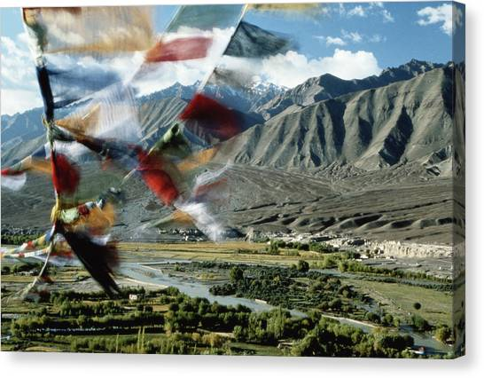 Buntings Canvas Print - Bunting Flying In Sky With Kunlun by John and Lisa Merrill