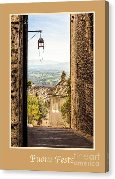 Buone Feste With Valley Outside Of Assisi Canvas Print