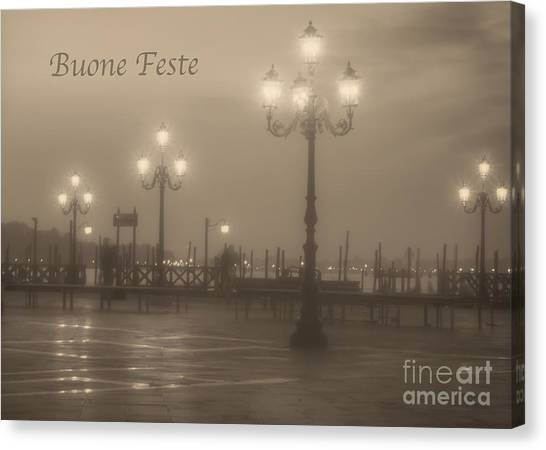 Buone Feste With Venice Lights Canvas Print