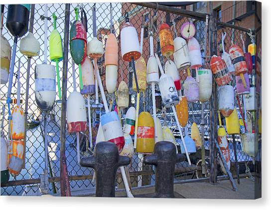 Crabbing Canvas Print - Buoys by Betsy Knapp