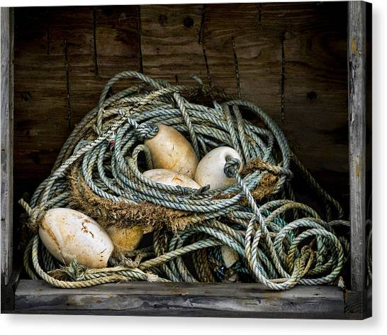 Rope Canvas Print - Buoys In A Box by Carol Leigh