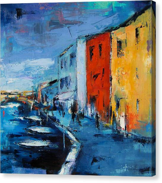 Facade Canvas Print - Burano Canal - Venice by Elise Palmigiani