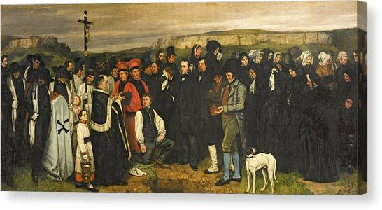 Priests Canvas Print - Burial At Ornans, 1849-50 Oil On Canvas by Gustave Courbet