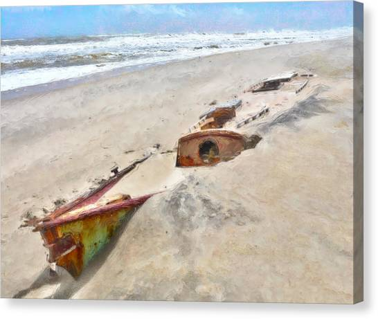 Buried Canvas Print - Buried Treasure - Shipwreck On The Outer Banks I by Dan Carmichael