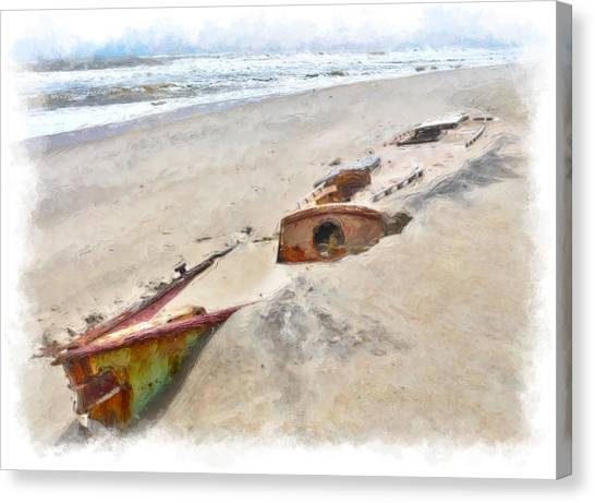 Buried Canvas Print - Buried Treasure - Shipwreck On The Outer Banks II by Dan Carmichael