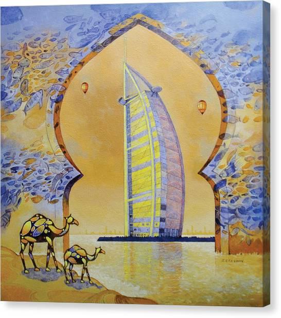 Burj Al Arab And Camels Canvas Print