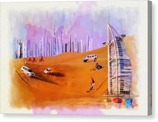 Dubai Skyline Canvas Print - Burj Arab Skyline by Corporate Art Task Force