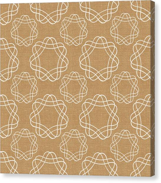 Geometry Canvas Print - Burlap And White Geometric Flowers by Linda Woods