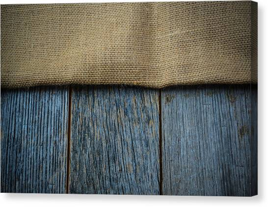 Burlap Texture On Wooden Table Background Canvas Print