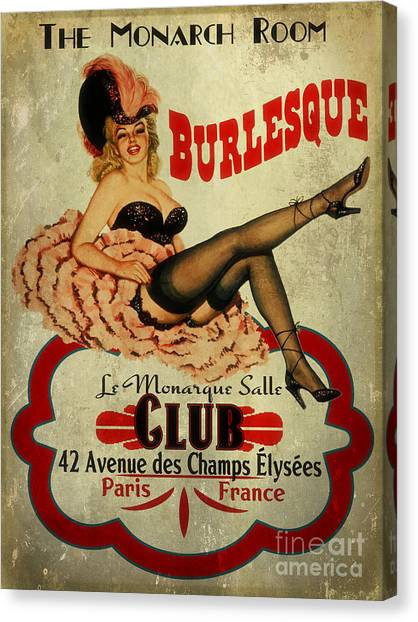 Pinup Canvas Print - Burlesque Club by Cinema Photography
