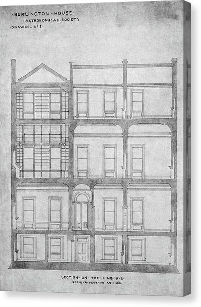 Burlington House Architectural Plans Canvas Print by Royal Astronomical Society/science Photo Library