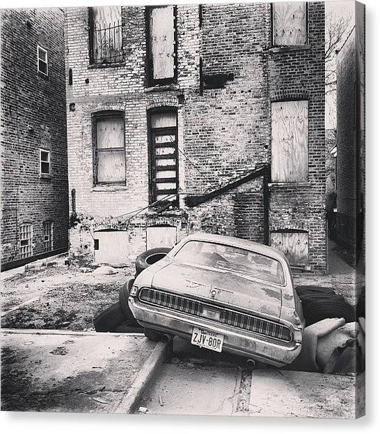 Mercury Canvas Print - Burned Out Car And Building #chicago by Michael Green
