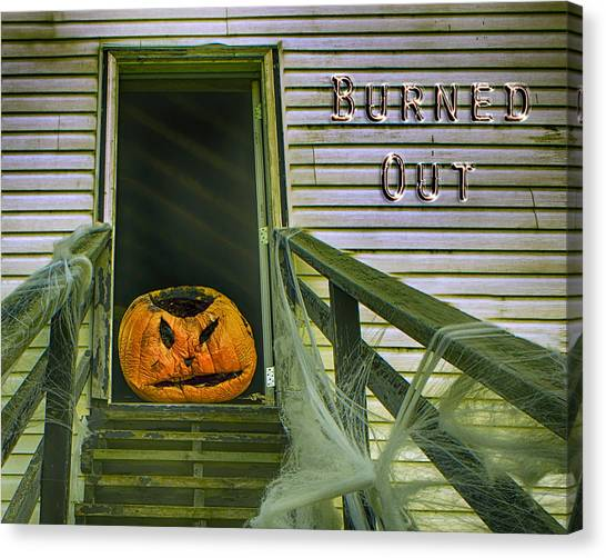 Cantankerous Canvas Print - Burned Out - Halloween by Nikolyn McDonald