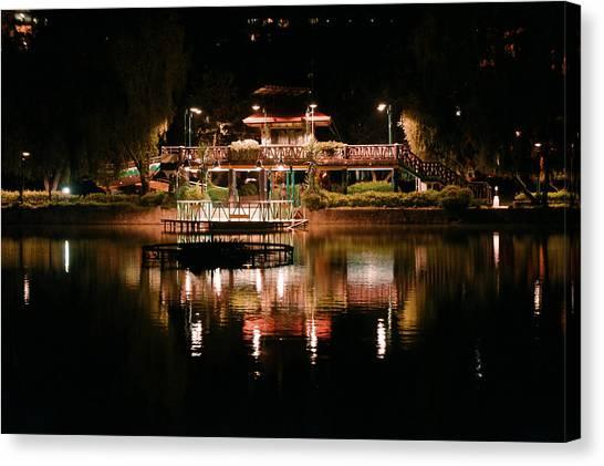 Burnham Park At Night Canvas Print by Joel Panida