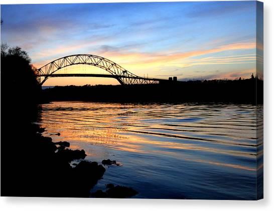 Burning Bridge Canvas Print by MPG Artworks