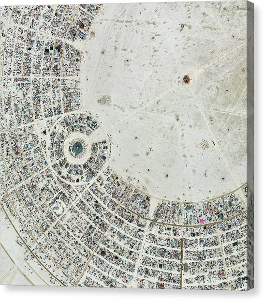 Black Rock Desert Canvas Print - Burning Man Festival by Geoeye/science Photo Library