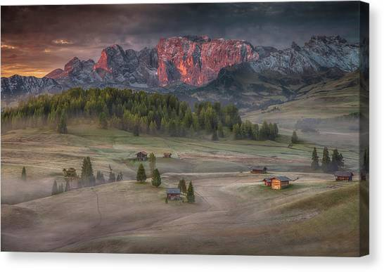 Countryside Canvas Print - Burning Mountains Over The Frozen Valley by Peter Svoboda, Mqep