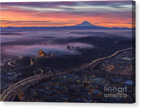 Interstates Canvas Print - Burning Seattle Sunrise by Mike Reid