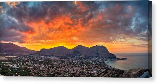 Burning Sicilian Sunset Canvas Print by Viacheslav Savitskiy