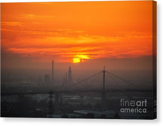Canvas Print featuring the photograph Burning Sunset II by Ray Warren