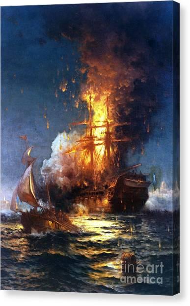 Burning The Uss Philadelphia Canvas Print