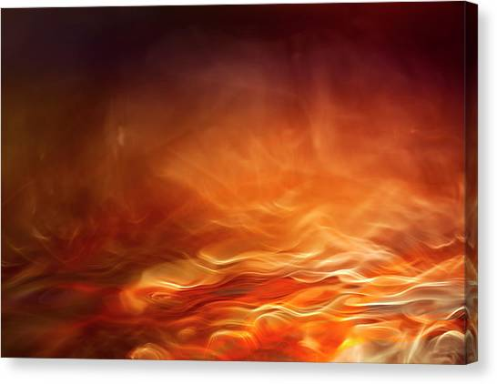 Flames Canvas Print - Burning Water by Willy Marthinussen