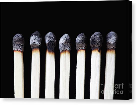 Burnt Matches On Black Canvas Print