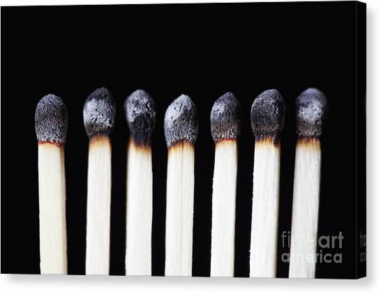 Burnt Matches On Black Canvas Print